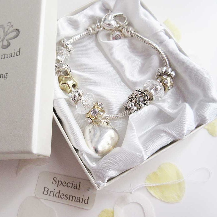 Stunning bridesmaid charms bracelet in silver, with box - Perfect for weddings - Ahoy Designs