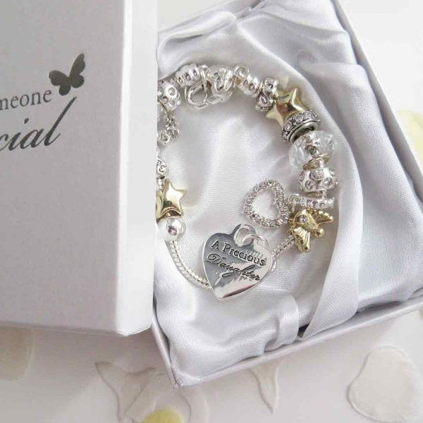 Stunning 'precious daughter' bracelet, in silver and with charms - Ahoy Designs