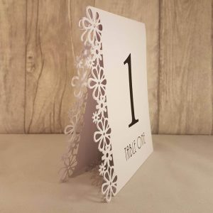 Cheap Table Numbers, Floral Laser Cut, White