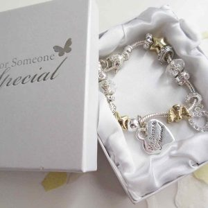 Special friend and sister bracelet - silver and gold, with charms - Ahoy Designs