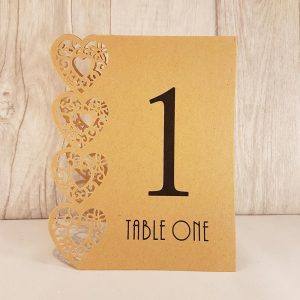 Table Numbers, Heart Laser Cut, Brown