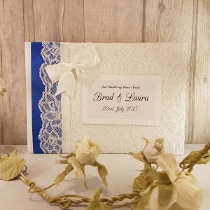 personalised wedding guest book with ribbon
