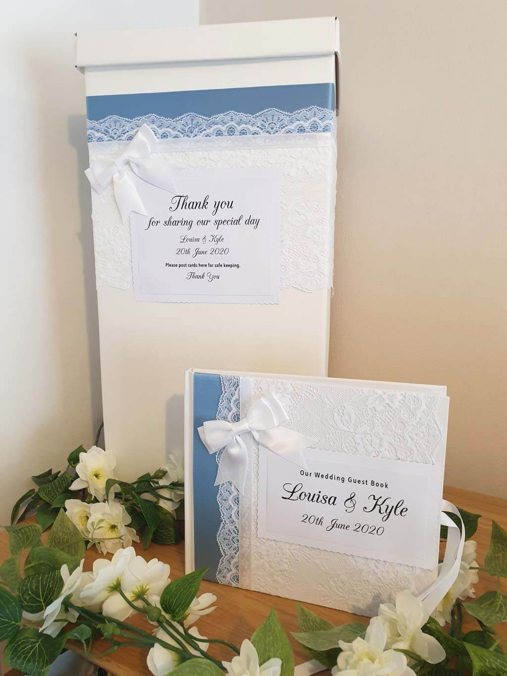 Matching personalised wedding guest book and post box