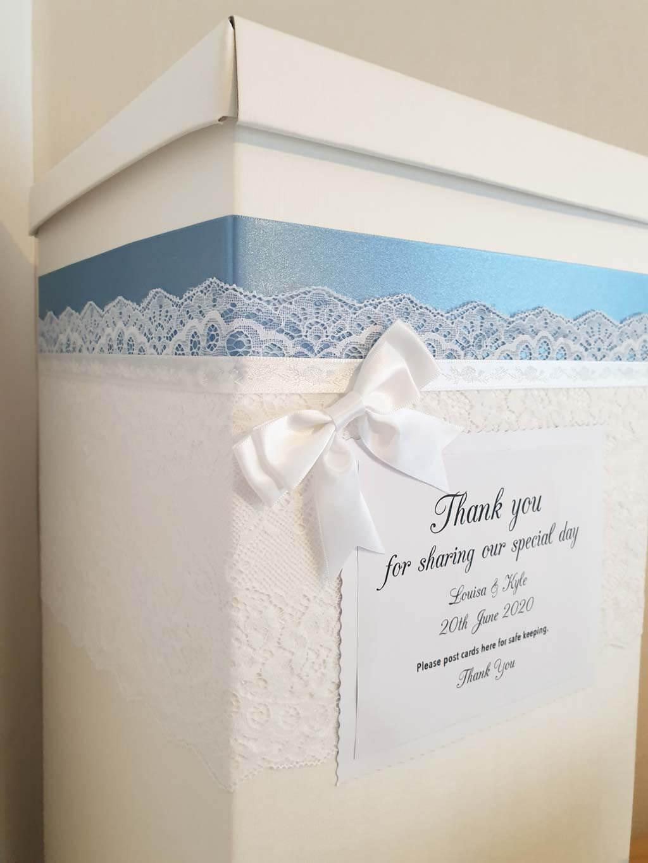 wedding post box with burgundy blue ribbon