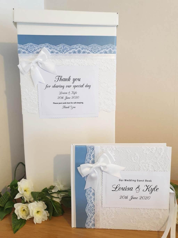 wedding post box with cornflower blue ribbon