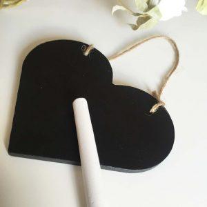 Large Wooden Blackboard Heart with Chalk