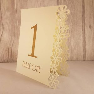 Table Numbers, Floral Laser Cut, Ivory