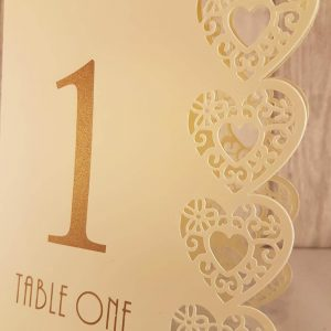 Table Numbers, Heart Laser Cut, Ivory