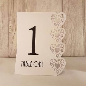 Table Numbers, Heart Laser Cut, White