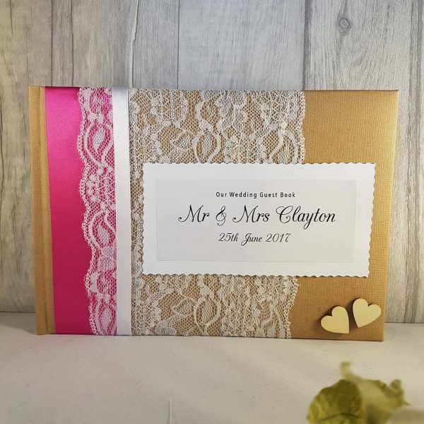 Vintage Personalised Guest Book with Hearts