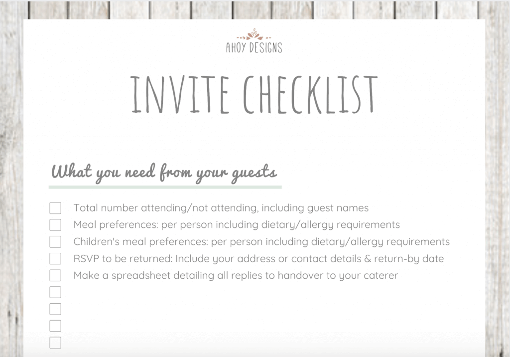 Here is what the wedding invite checklist I made looks like
