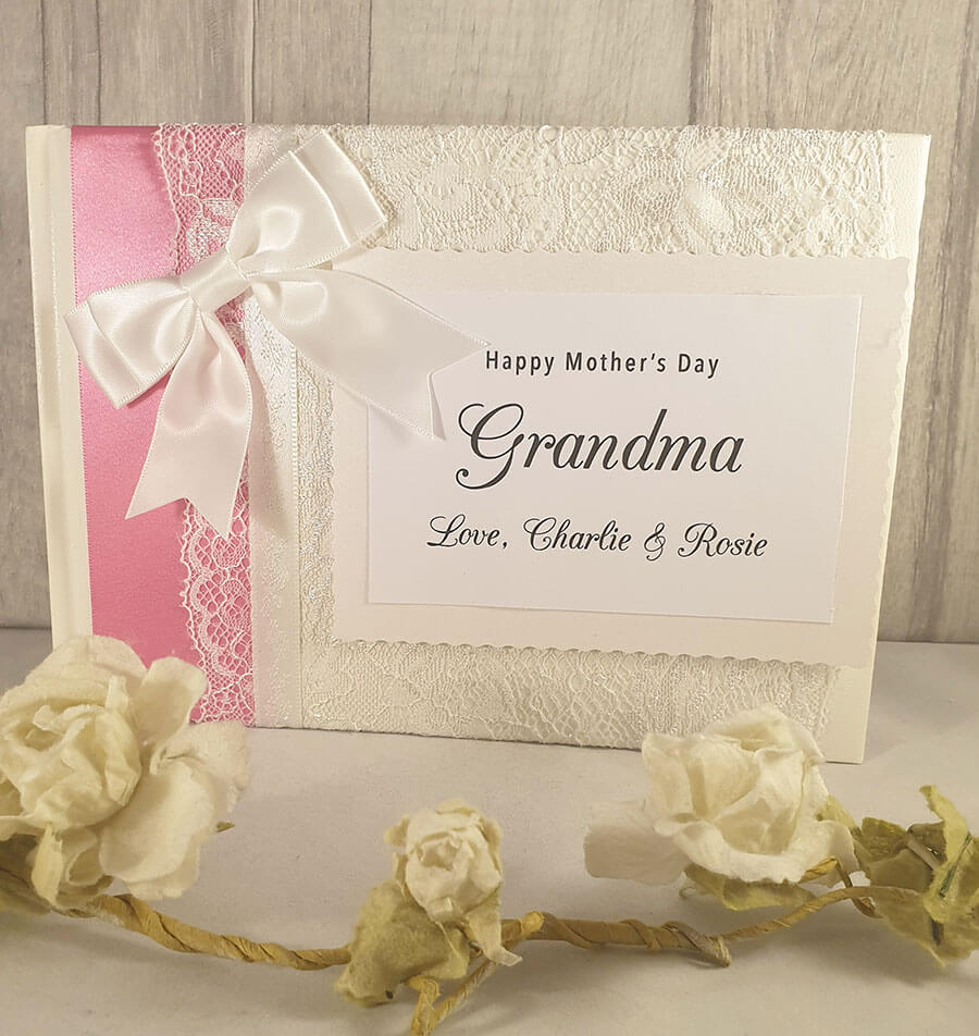 Personalised photo Mothers Day guest book with gold ribbon