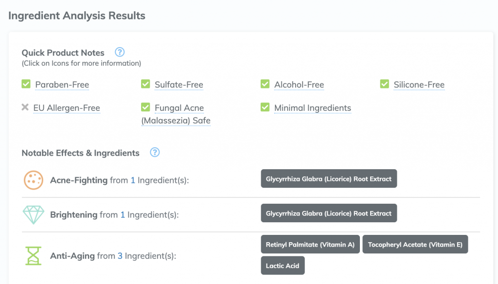 Analysis screenshot from SkinCarisma.com showing a list of the ingredients and what they're good for (& not good for)