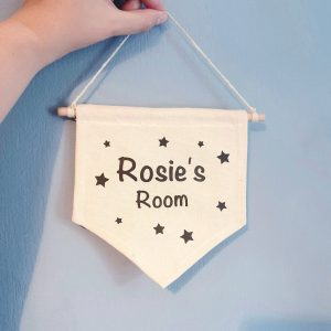 Personalised Door Sign with Child's Name - Hanging Canvas Banner