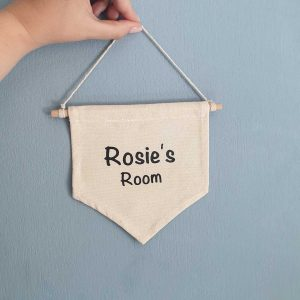 Door room name sign - personalised hanging canvas banner